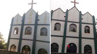 池州市のこの教会では宗教に関する言葉が撤去された。