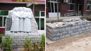 教会の信者が3人の殉教者を追悼するために建てた聖人像が撤去された。