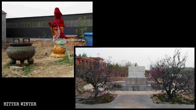楽陵市の「慈航書畫苑」から観音像が撤去された。