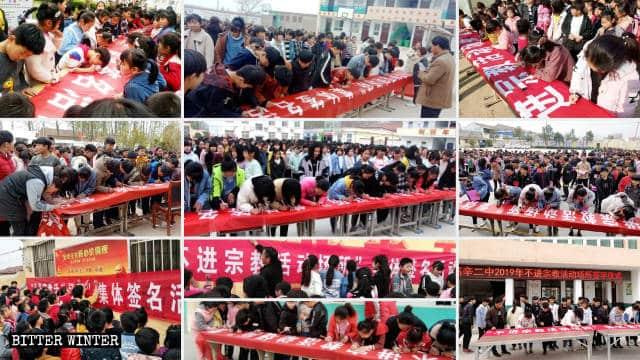 いかなる宗教関連施設にも立ち入らないことを約束する署名イベントで横断幕に名前を書く高辛鎮の小中学校生。