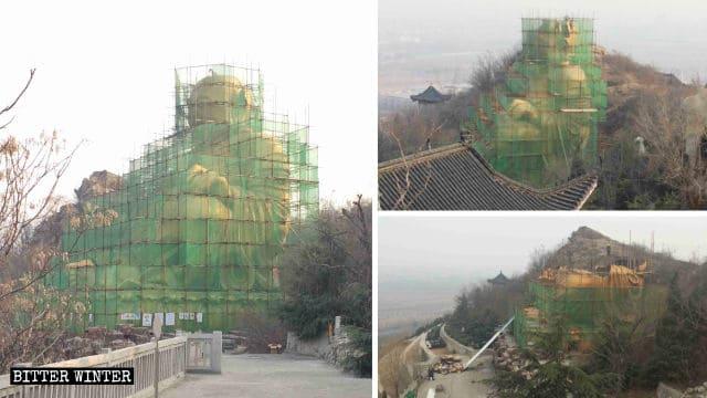 竜鳳陵園の弥勒菩薩像は17日間で破壊された。