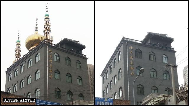 西安市にある北関清真モスクのドーム、星と三日月のシンボルが取り外された。