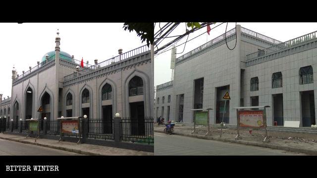 イスラム様式の建築要素が取り除かれた女性用モスクはオフィスビルのような外観になった。