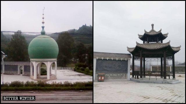 東関ムスリム広場にあったドーム型の建物は中国様式の建築物に変えられた。