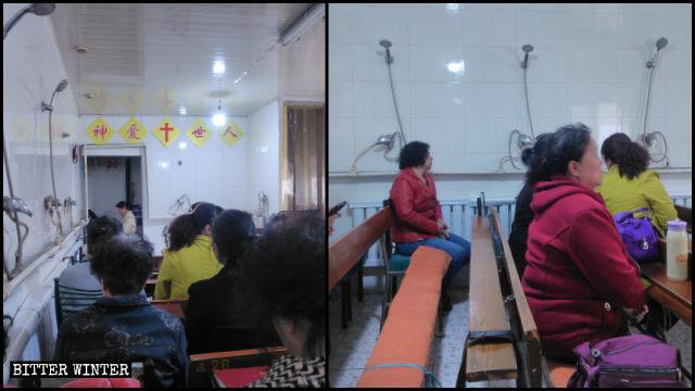 内モンゴルの家庭教会の信者たちは、銭湯の中でシャワーヘッドに見下ろされながら集会を行わざるを得ない。