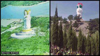 墓地や景勝地における仏像の破壊が増加 解体を避けるために、観音像の頭部は蓮の花の形に変わった