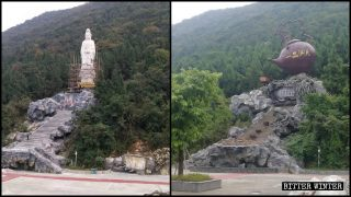 屋外の仏像を無差別に排除する方策に伴い、観光地で南海観音像が巨大な急須に差し替えられる