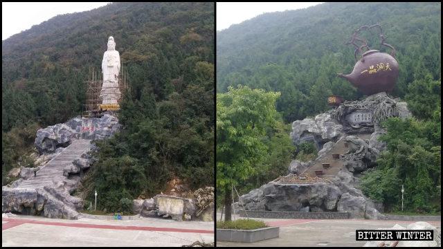 南海観音像が急須の彫刻に差し替えられた。