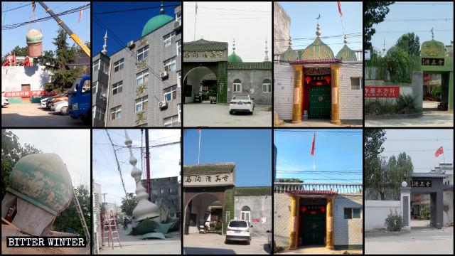 鄭州市でいくつものモスクからドームと三日月のシンボルが強制的に取り外された。