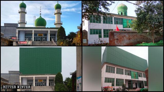 モスクのドームと三日月のシンボルは覆われた。