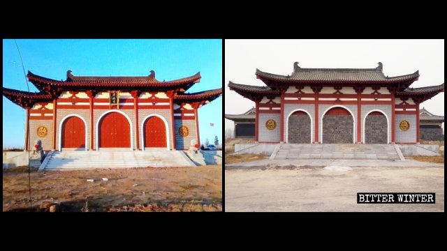 拿馬寺の本堂は封鎖され、入口の両側に立っていた2頭の獅子像は運び去られた。(左は内部情報筋より。右は記者が撮影)