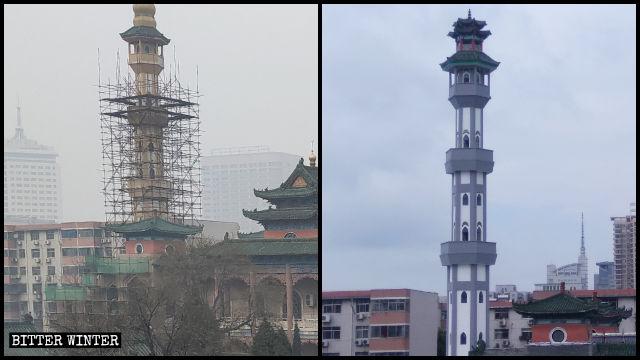 鄭州市の北大モスクの尖塔が「中国化」される前と後の様子。