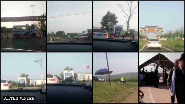 警察は磨子山の巡礼地に続く道路にいくつもの検問所を設けた。
