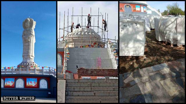 三面観音菩薩像が取り壊される前と後の様子。