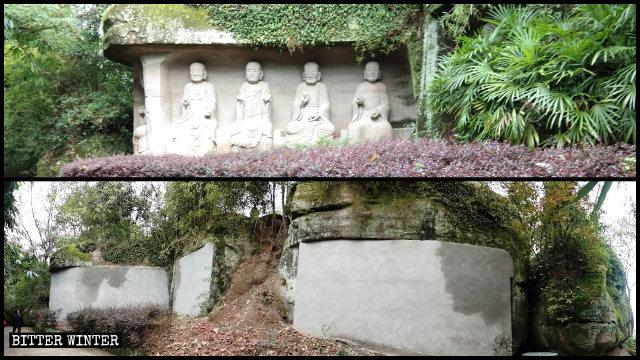 羅漢像24体はレンガの壁で覆い隠された。