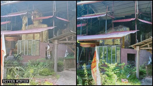大徳鎮の龍泉寺にある高さ約8メートルの仏像が取り壊された。