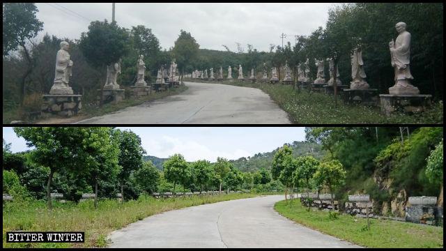 巡礼路沿いの霊鷲寺の阿羅漢像は撤去された。