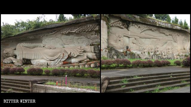 凌雲山にある覆われる以前の釈迦涅槃像。