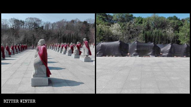 撫順市にある善縁寺の阿羅漢像500体撤去前と後の様子。