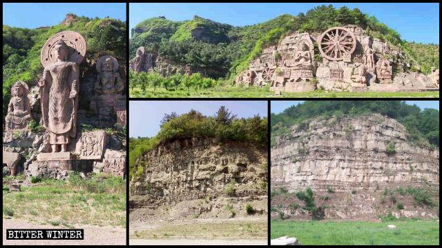 崖に刻まれた構成作品「世界仏教の光」は取り壊され、荒れた絶壁だけが残った。