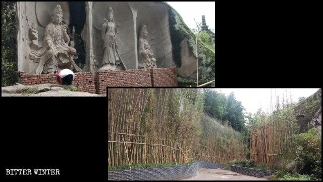 景勝地の33体の観音像は観光客に見えないように隠された。