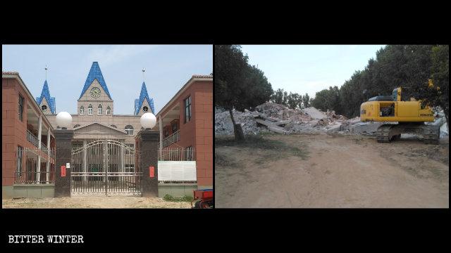 取り壊される前と後の武陟県の三自教会の様子。
