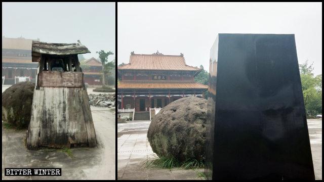 慈航真人像は黒いトタン板で封鎖された。