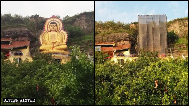 長沙鎮の雙全廟にある高さ約10メートルの如来像が取り壊された。